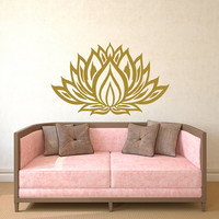Lotus Flower Wall Decal Yoga Studio Vinyl Sticker Mandala Decals Bedroom Indian Ornament Namaste Home Decor Boho Bohemian Bedding T171