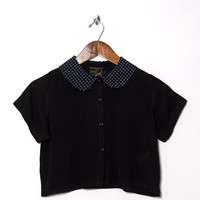 Motel Vintage Andy Collared Crop Blouse 0108 ONE SIZE