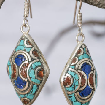 Afghani Diamond Mosaic Earrings