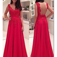 Custom Made A Line V Neck Backless Red Lace Prom Dresses, Red Lace Formal Dresses