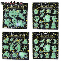 MEIDDING Fluorescent Sticker Ghost Halloween Pumpkin Face Bats Stickers Wall Decoration Sticker Halloween Decoration Supplies