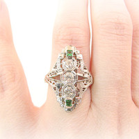 Art Deco Diamond Ring with Faux Emeralds, Old Cut Diamonds, Intricate Filigree and Engraving, 18K White Gold, Very Elegant