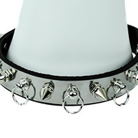 "Metal Plate Fauceted Spikes & O Ring Hoop Studs Choker 3/4"" Wide"