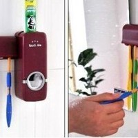 RED Automatic Toothpaste Dispenser,toothbrush Holder Sets