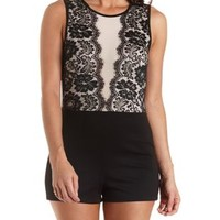 Lace & Mesh Open Back Romper by Charlotte Russe - Black Combo