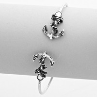 Anchor Double Sided Cuff Bracelet Burnished Silver
