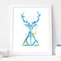 Harry Potter, Expecto Patronum, Deer Patronus, Magic World, Watercolor Art Print, Room Decor, Fairytale Art, Home Baby Nursery Wall Art