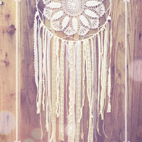 Turquoise, Amethyst, & White Hand Beaded Shabby Chic Crochet Lace Doily Dreamcatcher