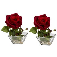 Rose w/Square Vase Silk Flower Arrangement (Set of 2)