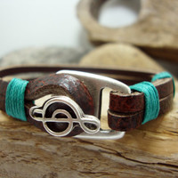 FREE SHIPPING - Men's Bracelet, Leather Men Bracelet, Men's Leather Bracelet, note bracelet. Brown Leather and Silver Plated Clasp Bracele