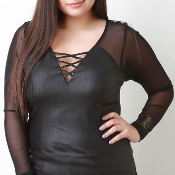 Vegan Leather And Mesh Long Sleeve Top