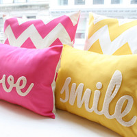 Hot Pink Chevron Pillow  Square by HoneyPieDesign on Etsy