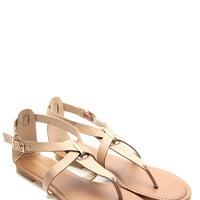 Nude Faux Leather Cross Strap Sandals