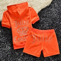 Juicy couture Trending Casual Diamond Print Short Sleeve Shorts Two Piece Set Orange