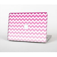 The Pink & White Ombre Chevron Pattern Skin Set for the Apple MacBook Air 11""