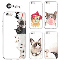 3D Relief Cool Silicone Soft Painting Grumpy Cat Cute Painting Cover For iPhone 7 7 plus iPhone 5 5S SE 6 6S 6Plus 6S Plus