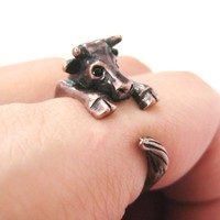 Cow Bull Shaped Animal Wrap Around Ring in Copper | Sizes 4 to 9 Available