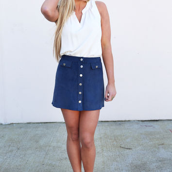 Button Down Suede Skirt {Teal}