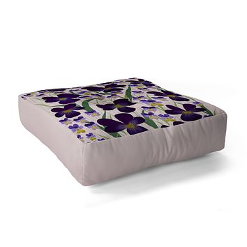 Joy Laforme Pansies in Purple and Yellow Floor Pillow Square