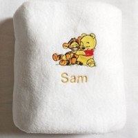 Boy/Girl Blanket - Winnie the Pooh & Tigger - Personalised - Embroidered  - Soft Fleece - Add Name