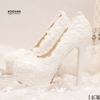 Koovan Wedding Pumps 2017 New Fashion Pearl White Lace Bridal Women Wedding Shoes High Heel Ladies Genuine Leather Shoes