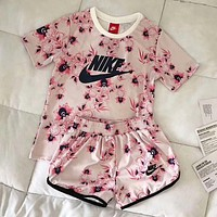 """Nike"" Popular Classic Flower Letter Print Short Sleeve Top Shorts Pants Sweatpants Set Two-Piece Sportswear Pink I-CY-MN"