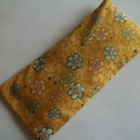 100% cotton Organic Eye Pillow relaxation therapy,  Yellow flowered scented yoga eye pillow