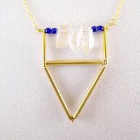 Geometric Necklace, Geometric Gold Necklace, Triangle Necklace, Brass Tube, Blue, Gold Necklace, Quartz Necklace, Brass Modern Necklace