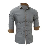 New Mens Long Sleeve Fit Slim Casual Social Blouse Tops 2017 Spring Autumn Button Turn-down Collar Formal Dress Shirts Camisas