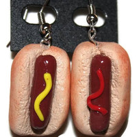 Hot Dog with Mustard/Ketchup Earrings