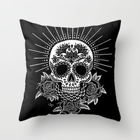 Sugar Skull Black Throw Pillow by Nora Bisi