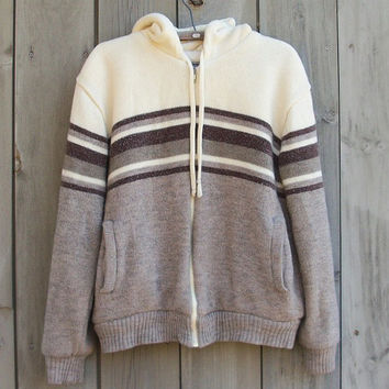 Vintage sweater - Tan and white fleece lined unisex hoodie
