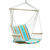Cyan Blue Stripe Hammock Chair with Wooden Armrest (17 inch wide)