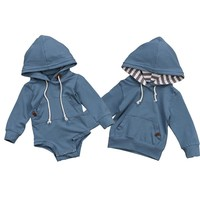 Pudcoco Newborn Infant Baby Boys Hooded Romper Tops Sweatshirt Outwear One-Pieces Outfits Clothes