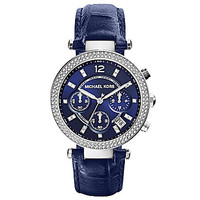 Michael Kors Stainless Steel and Navy Croco Leather Strap Parker Watch