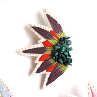 Embroidered brooch abstract starburst design with plum, red and light green colors and malachite gems hand embroidered Spring,Summer fashion