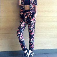 """Adidas"" Women Casual Floral Print Zip Cardigan Short Sleeve Trousers Set Two-Piece Sportswear"