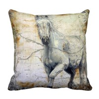 Whispers Across the Steppe Throw Pillows