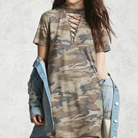 Crisscross-Front Camo Dress