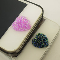 1PC Resin Elegent Blooming Rose Flowers Heart iPhone Home Button Sticker Charm for iPhone 4,4s,4g,5,5c Cell Phone Charm Valentine Gift