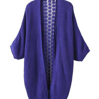 Purple Knitted Cardigan with Crochet Lace Back