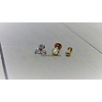 Titanium triple forward helix jewelry 16g or 18g multiple helix cartilage piercings labrets anodized