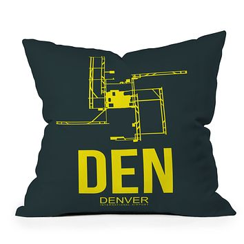 Naxart DEN Denver Poster 1 Throw Pillow