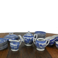Vintage Blue Willow Toy China Childrens Matching 34 Piece Set - Teapot, Creamer, Sugar Bowl, Saucers, Plates & Serving Dish - Transor Ware
