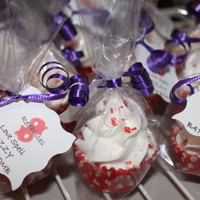 Mini Cupcakes Fizzy Bath Bombs LOVE SPELL Gift Party Favors Special Occassions red white Natural pack of 2