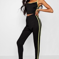 Alicia Neon Sports Tape Knitted Set | Boohoo
