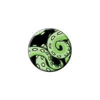 Green Tentacles - Squid Octopus Sea Monster Lapel Hat Pin Tie Tack Small Round
