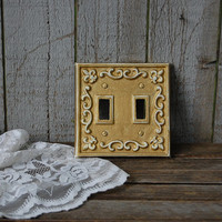 Double Wall Plate, Double Switch Cover, Shabby Chic, Gold, Ivory, Cast Iron, Ornate, Fleur de Lis