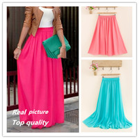 SK71 Long Skirt Elegant Style Women Pastel Volume Candy Coloured Pleated chiffon Maxi Skirts floor-length long skirt