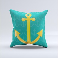 Gold Stretched Anchor with Green Background ink-Fuzed Decorative Throw Pillow